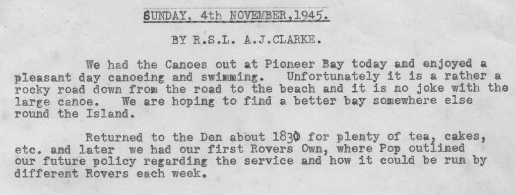 Scan of the diary from 4 November 1945