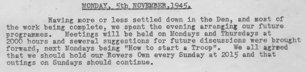 Scan of the diary from 5 November 1945